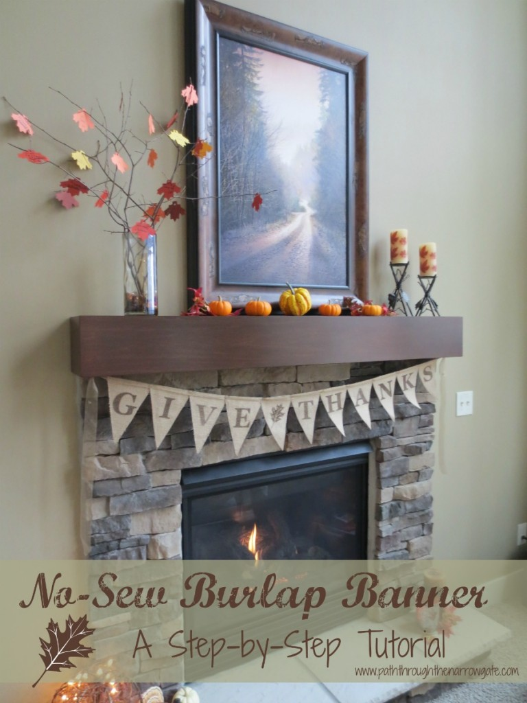No-Sew Thanksgiving Burlap Banner: Easy Step-by-Step directions and template
