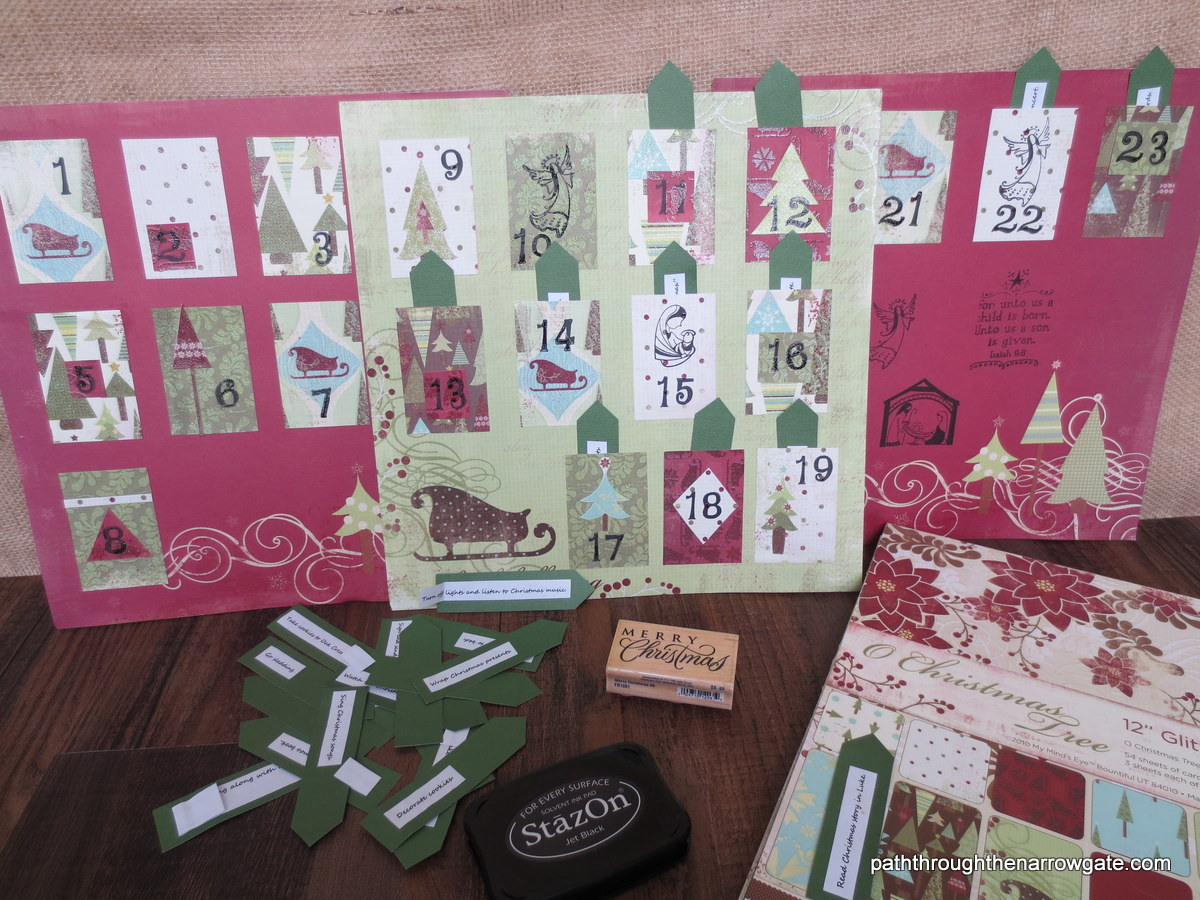 Advent Activity Calendar - so simple to make. You just need scrap book paper, scissors, and glue. Even the stamps are optional!