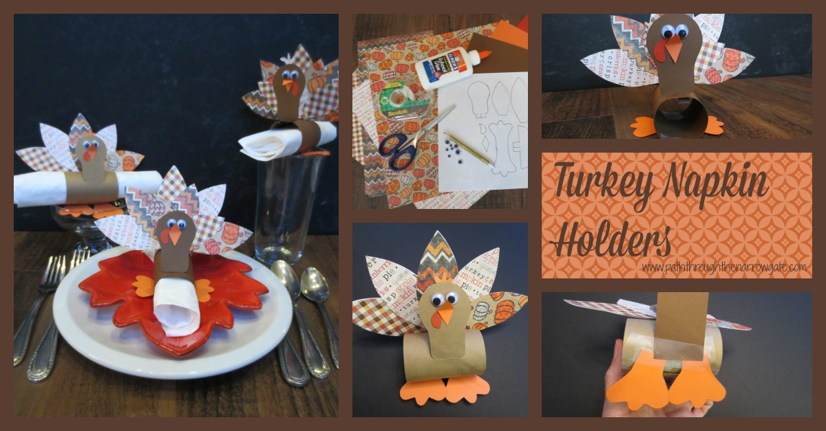 Turkey Napkin Rings: An adorable Thanksgiving craft for kids, great to make after reading Turkey Trouble.