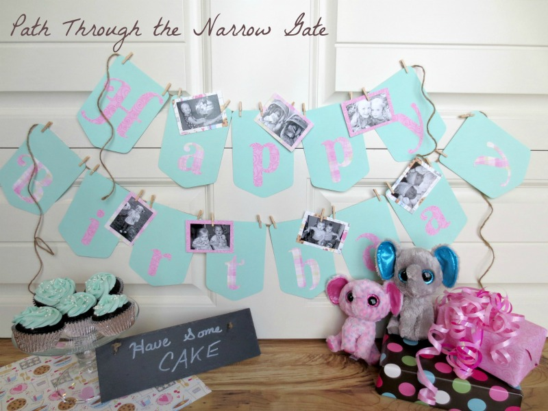 Make decorating and celebrating your family's birthdays easy and personal with this adorable birthday banner, complete with wallet sized photos celebrating birthdays past, milestone events, and precious memories.
