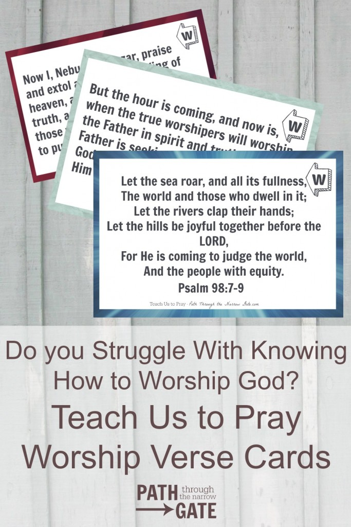 These Teach Us to Pray Worship Verse Cards are designed to be used by older kids and adults as prompts to worship God in prayer.