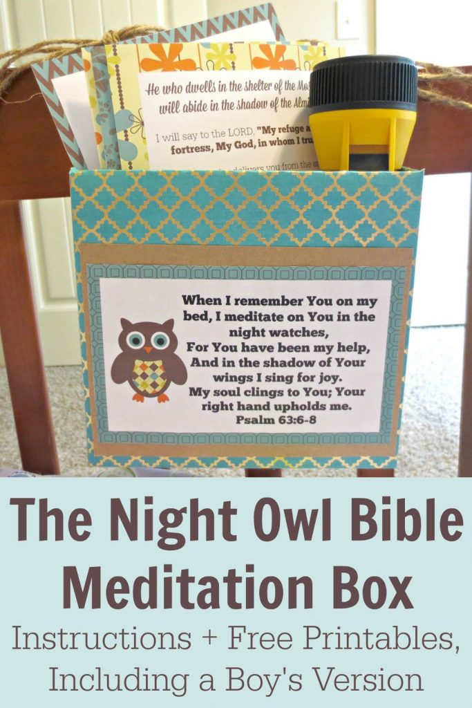 Do your kids have trouble sleeping? Comfort them with this adorable Night Owl or Outdoor Adventure Bible Meditation Box