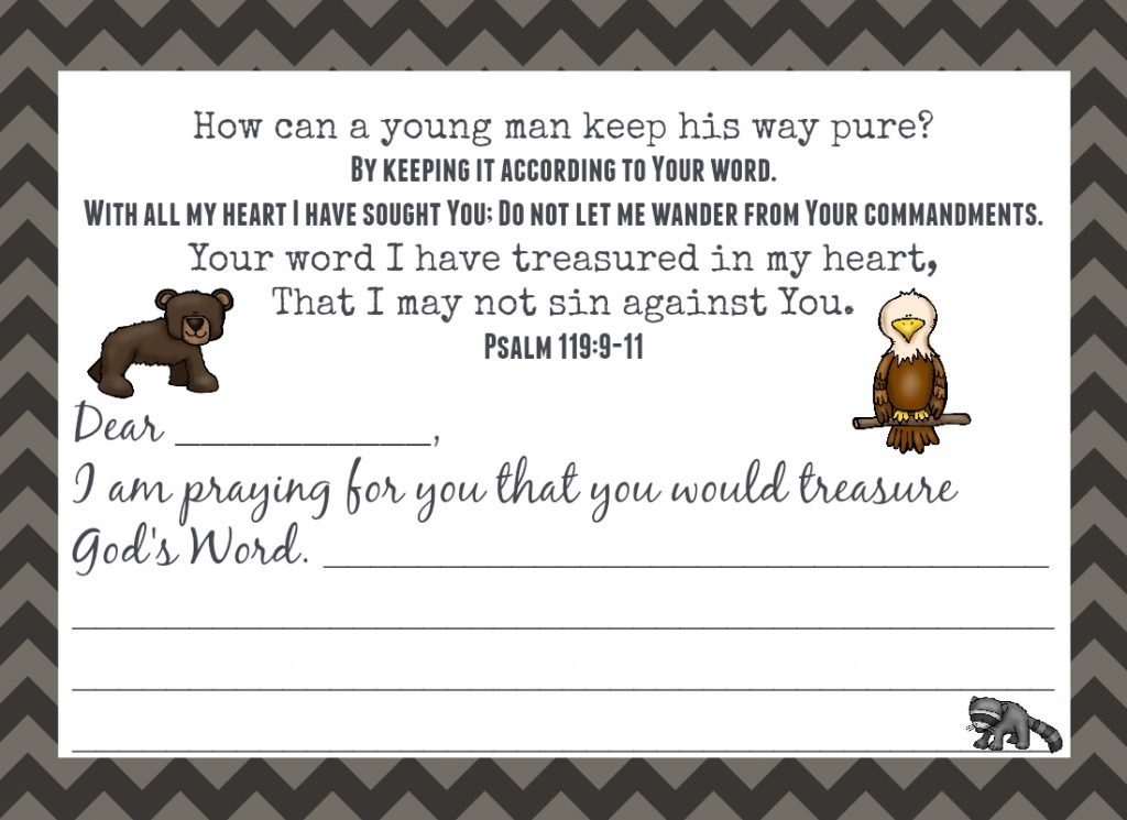 Encourage a young man today with this Love Note based on Psalm 119:9-11.
