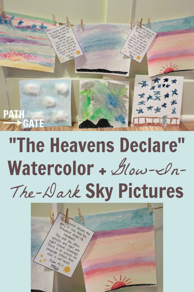 Watercolor paints are a blast to use! Introduce your child to this art form by painting beautiful abstract watercolor sky pictures, complete with glow-in-the-dark stars and a reminder of God's greatness.