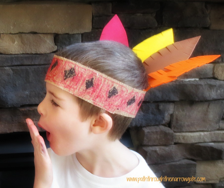 Burlap Indian Headbands - a durable craft, perfect for Thanksgiving, celebrating Native Americans, or for everyday dress-up fun