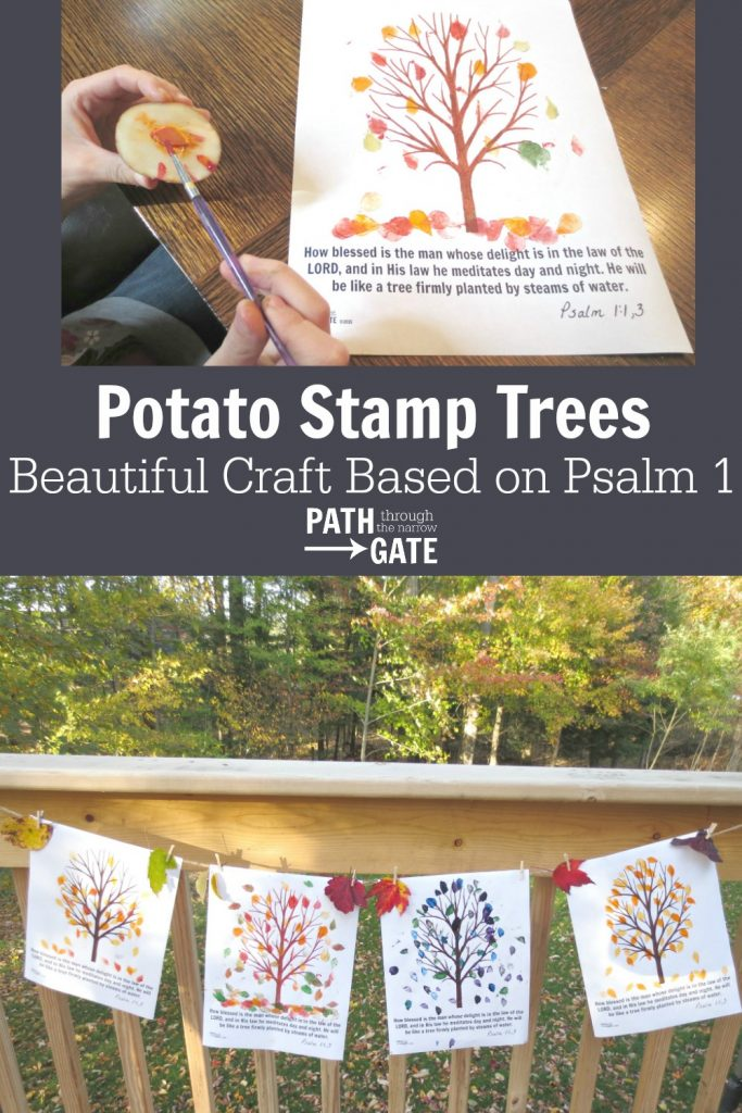 These beautiful fall trees are every bit as fun to make as they are enjoyable to look at. Bring some fall to your home or classroom today with these potato print trees, complete with a reminder from Psalm 1 on the bottom.