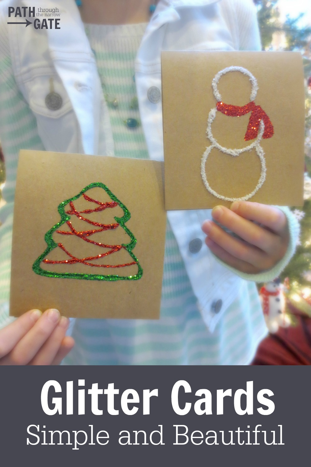Are you looking for some inexpensive but beautiful gifts your children can make and give to friends, grandparents, teachers, and classmates? These simple, rustic Christmas Glitter Cards are a perfect way to let someone special know that you are thinking of them this Christmas season.