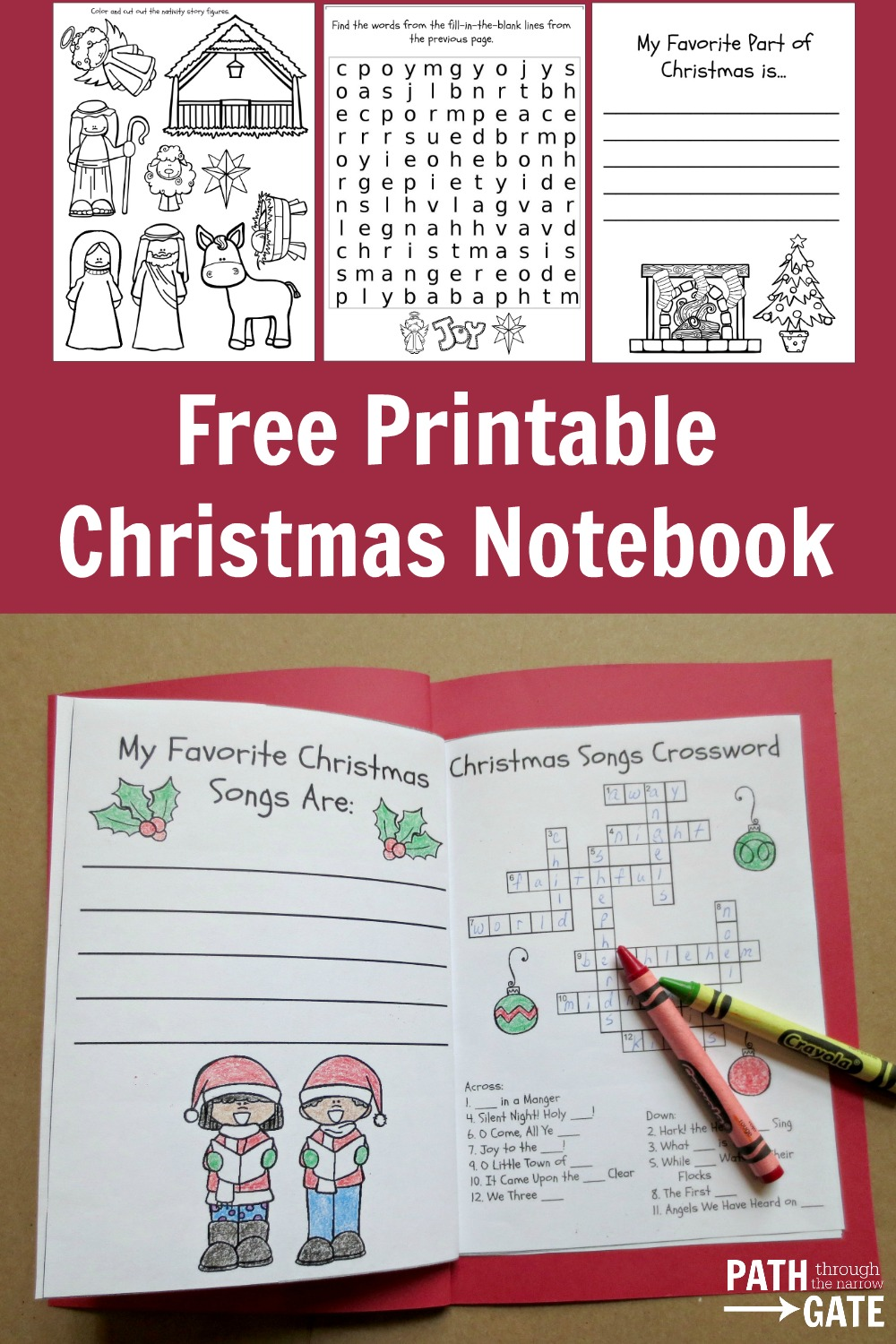 Keep your kids occupied in the car, at church, or at a relative's house with this delightful Christmas Notebook, filled with word puzzle, coloring pictures, and notebook pages.