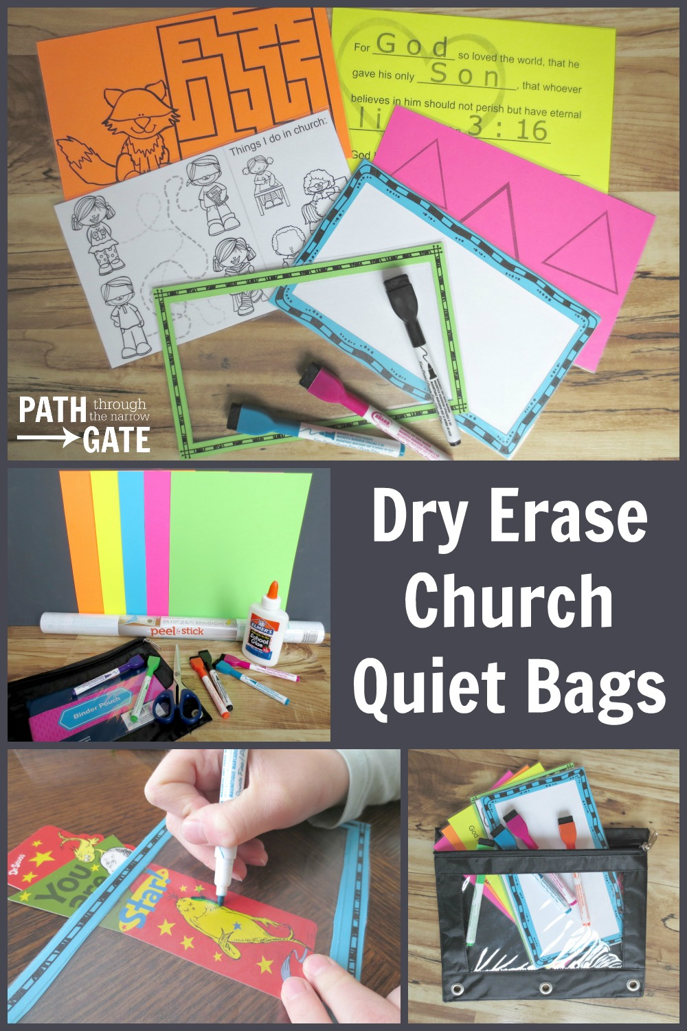 Dry Erase Church Quiet Bag|Path Through the Narrow Gate
