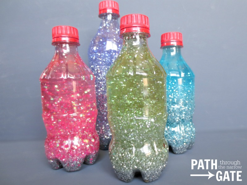 Church Quiet Bag Glitter Bottles|A small glitter bottle is a perfect way to keep young children mesmerized during a church service, long car ride, or even at a doctor's office.|PathThroughTheNarrowGate.com