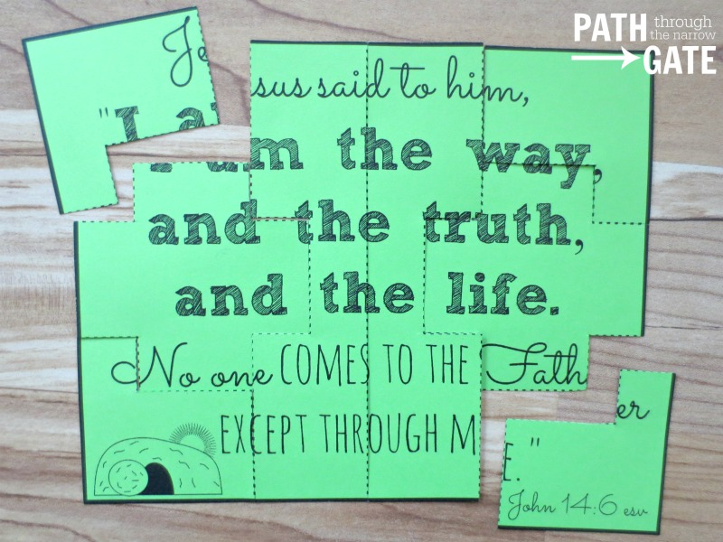 Are you looking for a simple way to review some Easter Bible verses with your children? These Bible Verse Easter Puzzles are just the ticket!|Path Through the Narrow Gate