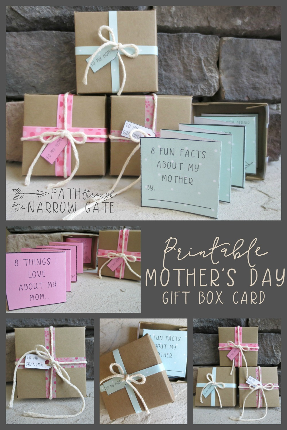 "This super-simple yet adorable printable Mother's Day Gift Box Card is perfect to make in a classroom or at home. It also includes a ""Grandma's"" version. - I am saving to make with my Sunday School class"