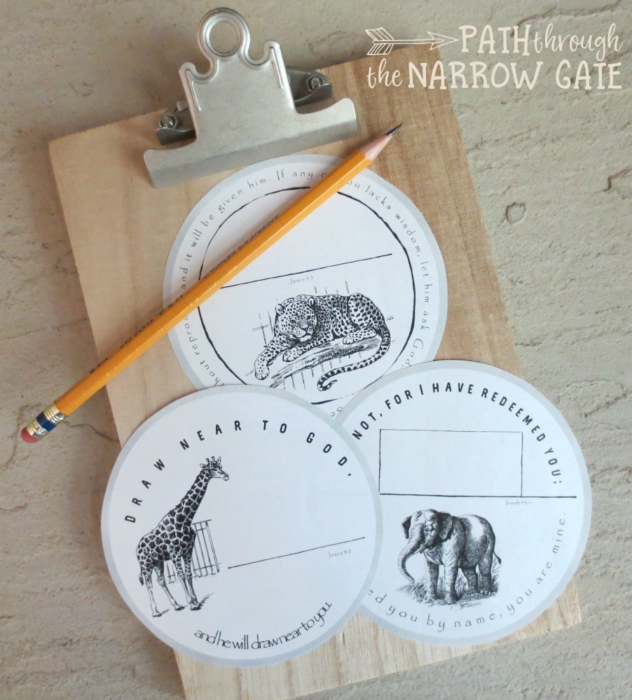 These free printable name tags, featuring Bible verses and wild animal drawings, can be used to label back packs, instruments, books, and lunch boxes. They make perfect crafts for home use, Sunday School, or back to school gifts.